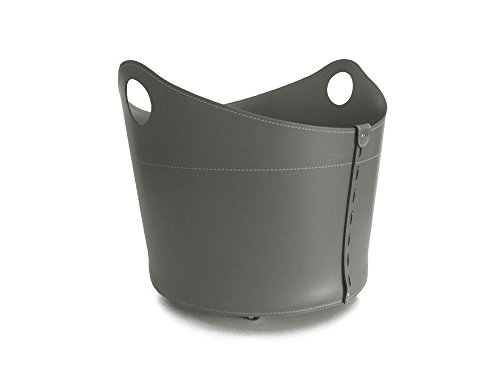 Cadin Mini: Porte bûches en Cuir de Couleur Gris Tourterelle, Panier Sac à bûches, Chariot à Bois, Panier à granulés, Idée Cadeau, Made in Italy, Design Firestyle®.