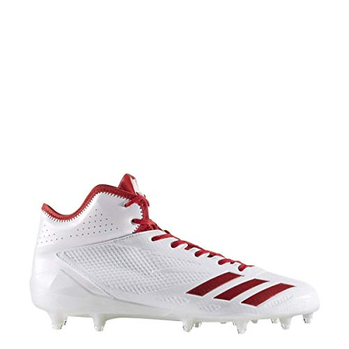 adidas Adizero 5Star 6.0 Mid Cleat Mens Football 16 White-Power Red-Power Red