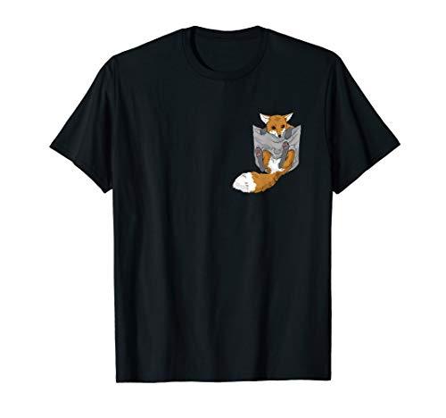 Fuchs in der Brusttasche T-Shirt Lustiges Fennek Shirt