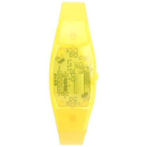 Pwshymi Pulsera LED Pulsera Intermitente de Silicona Ajustable Pulsera con luz de vibración con batería para Correr al Aire Libre por la Noche(Amarillo)