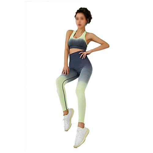XIANWFBJ Ropa De Yoga para Mujer, Nuevo Sujetador Degradado A Prueba De Golpes + Pantalón De Cadera (Traje De Dos Piezas) Adecuado para Todo Tipo De Deportes De Ocio,Yellow Gray,L