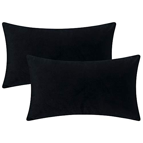Artcest Set of 2 Cozy Velvet Decorative Rectangular Throw Pillow Cases, Soft Solid Lumbar Cushion Covers for Sofa Couch and Bed, 12' x20 (Black)