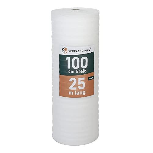 BB-Verpackungen 25 m² Trittschalldämmung 1,0 x 25 m (3 mm stark, sehr gute Schall- und Wärmedämmung) - Sets zwischen 25 m² und 500 m²