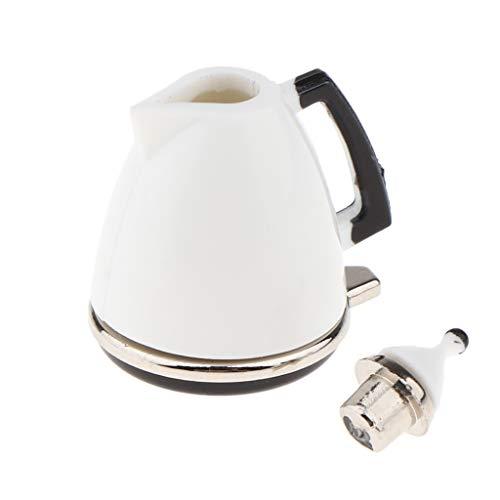 Hellery Juego de Imitación - 1/12 White Coffee Maker Vajilla Muebles de Cocina para