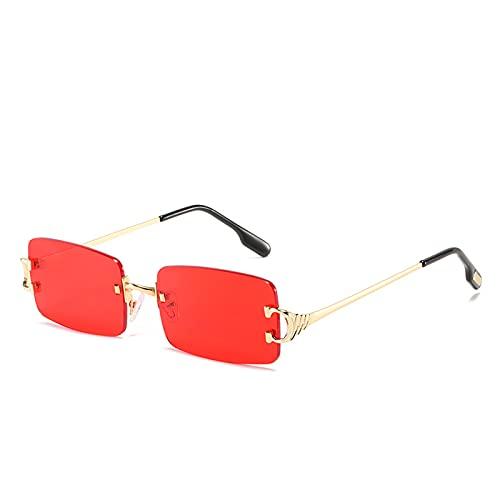 mjuwzghy Gafas de Sol rectangulares sin Montura Azules para Hombre, diseño de Marca, Gafas de Sol cuadradas de Moda de Metal para Mujer, Lente degradada sin Marco UV400
