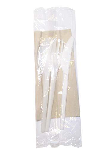 50 Set Tris COMPOSTABILE forchetta Cucchiaio Coltello 16,5 cm. tovagliolo 2 veli sigillato inbustate CPLA biodegradabile Uni EN13432 Posate Bianca