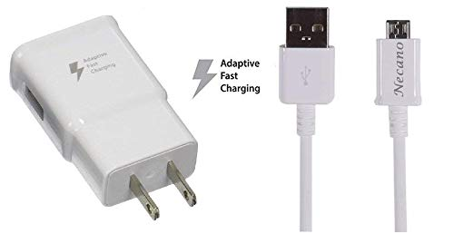 Adaptive Fast Charging Wall Charger with 5-Feet Micro USB Cable Kit Compatible with Samsung Galaxy S7/S7 Edge/S5/S6/S6 Edge/S4/S3/Note 5 Note 4 Galaxy Tab Pro, Tab 4/3 LG G2 G3 G4