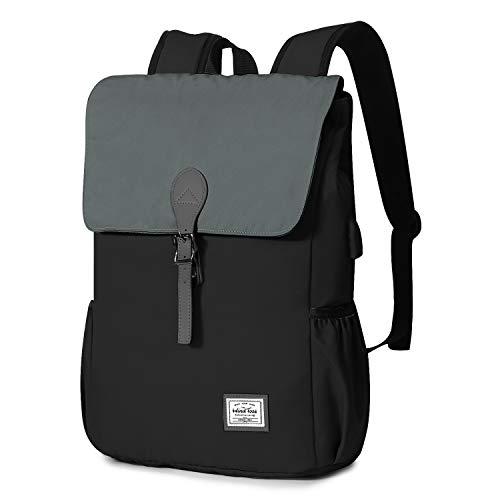 Wind Took 15,6 Zoll Damen Rucksack Laptop Rucksack Daypack Schulrucksack mit USB Anschluss für Uni Arbeit Campus Alltag, 29 x 13 x 41 cm, Schwarz