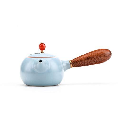 Zijkant Handgemaakte Zilver Theepot Open Emaille Enkele Pot Houten Handvat Japanse Thee Maker Kung Fu Thee Accessoires TONGTONG SHOP-10.13