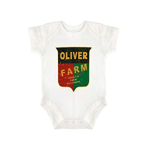 Baby Bodysuits Funny Short Sleeve Jumpsuit Clothes Outfits Oliver Farming for Sweet Baby Girls & Boys (6-9 Months) White