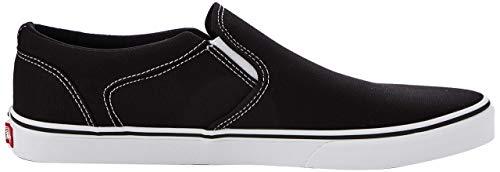 Vans Herren MN Asher Slip On Sneaker, Schwarz ((Canvas) Black/White 187), 44 EU