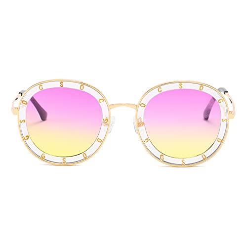 XINMAN Gafas de sol polarizadas para adultos retro marco grande marco cuadrado gafas de sol al aire libre a prueba de viento parasol espejo marco dorado púrpura bajo amarillo
