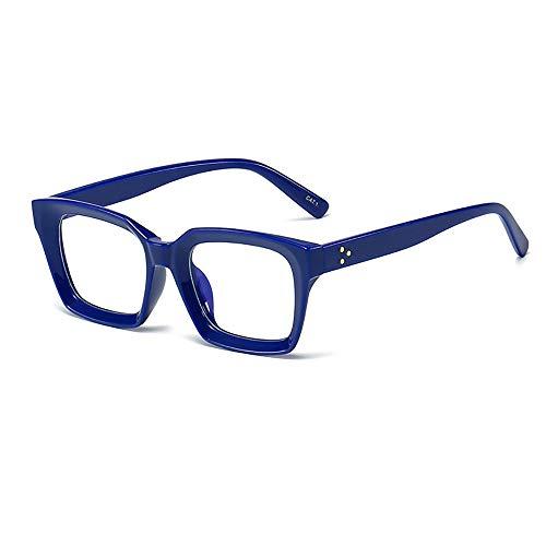 DANGONG BROTHERS Gafas De Lectura De Luz Azul Bloqueo Marco De La Vendimia Gafas De Moda Plaza Señoras Llenas Lectores Gafas De Ordenador Hombres Mujeres,Azul,+3