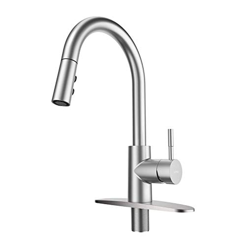 LEPO Pull Out Kitchen Sink Faucet, Modern Single Handle High Arc Kitchen Faucet with Pull Down Sprayer, Stainless Steel Brushed Nickel Rv Kitchen Faucets