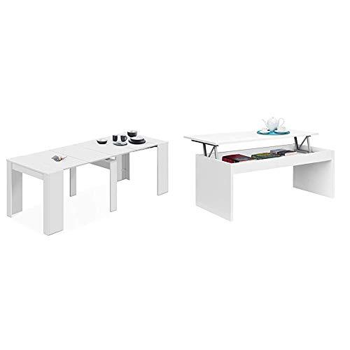 Habitdesign 13Casa - Granada A1 - Mesa Comedor Consola Extensible. Dim: 90x50x77 h cm + 001638BO Mesa de Centro elevable, mesita Mueble Salon Comedor, Metal, Blanco Brillo