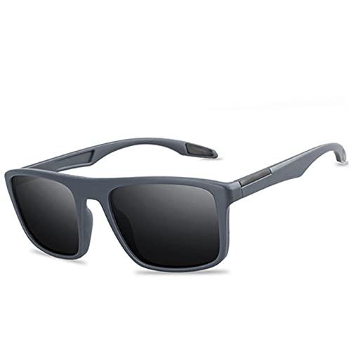 XMYNB Occhiali da Sole Occhiali da Sole Polarizzati Moda Uomo Uv400 Rettangolare Ultra Light Sun Glasses Pesca per La Guida All'Aperto-Matte Gray,Polarized Sunglasses