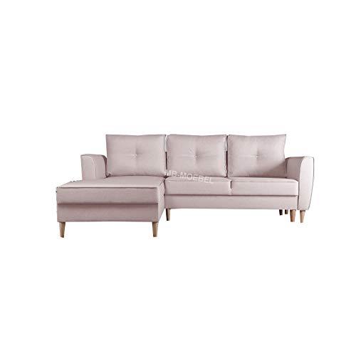 Canapé d'angle Rose Tissu Design Confort