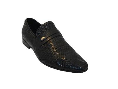 DaVinci Mens Italian Slip on Woven Leather Shoes V1223 Designer