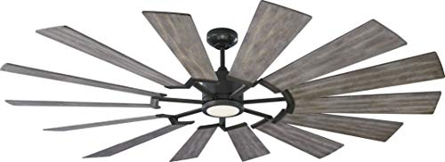 """Monte Carlo Fans 14PRR72AGPD Prairie Grand Windmill Energy Star 72"""" Outdoor Ceiling Fan with LED Light and Hand Remote Control, 14 Wood Blades, Aged Pewter-Light Grey Weathered Oak Blades Ceiling Fans"""