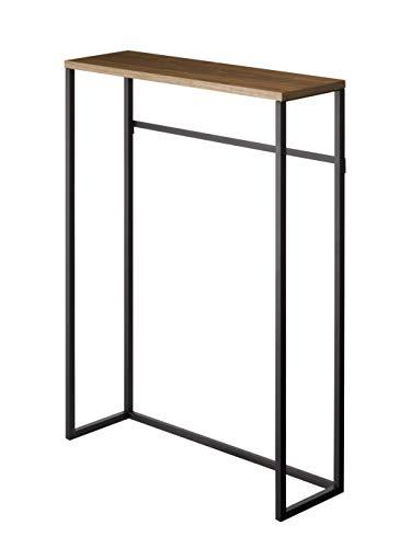 山崎実業(Yamazaki) コンソールテーブル ブラック 約W60XD18.5XH80.5cm タワー 置きやすくスリム 飾り棚 フック付き サイドテーブル 5165