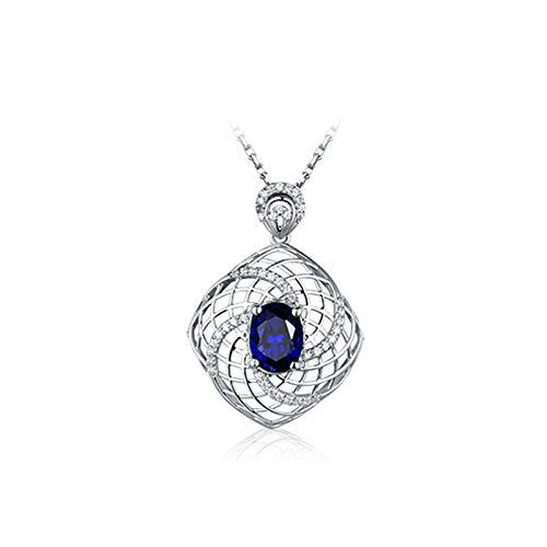 ANAZOZ 18K Oro Blanco Collar Mujer Azul Colgantes Oval con Hueco Zafiro Azul Blanco 3.38ct