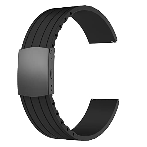 SOUWILA Correa Reloj Recambios Correa Relojes Caucho 16/18/20/22/24mm Silicona Correa Reloj con Acero Inoxidable Hebilla Desplegable (24mm, Black-Black)