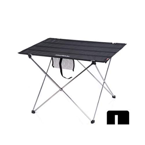 Hengtongtongxun Amovible, Toile, Table Et Chaises, Aluminium, Extérieur, Portable, Table Pliante, Pique-Nique, Barbecue, Table De Salle À Manger Ultra-Légère (Color : Black, Size : L)