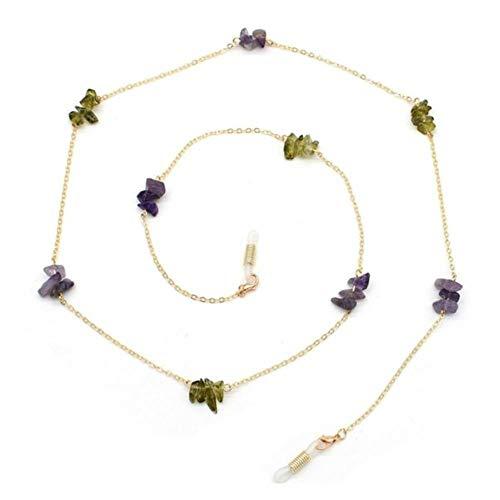 1 stücke Mode Unregelmäßigen Stein Perlen Charme Sonnenbrille Lanyard Strap Halskette Metall Brillengläser Kette Schnur Für Lesebrille, 6