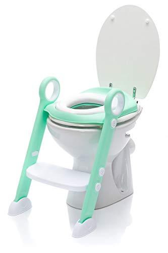 Fillikid Toilettentrainer | Kindertoilettensitz abnehmbar | Faltbarer Toiletten-Training-Sitz | Toilettensitz mit rutschfesten Füßen & zwei Haltegriffe, Design:mint