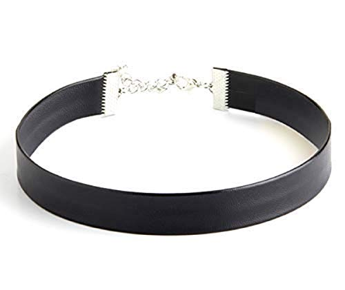 STACKABLE CREATIONS Black Leather Choker Necklace for Women, Girls, Kids, Men | Plain Solid Gothic Ribbon Jewelry | Simple Collar Victorian Cameo Cinderella Costume Choker