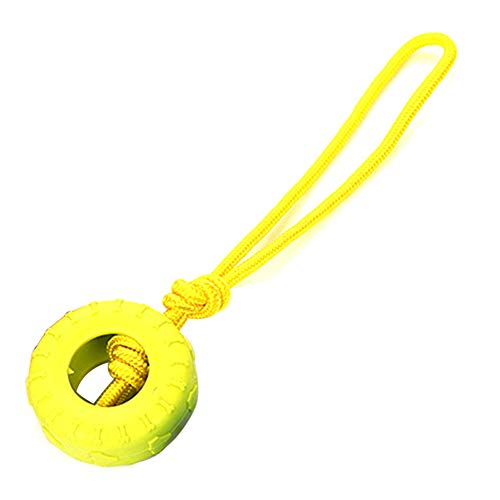 zhenleisier Pet Toys,Fun Pet Dog Cats Puppy Cotton Rope Tyre Ball Bite-Resistant Molar Scratch Chew Toy Teeth Cleaning Interactive Hunting Exerccise Need Toy Yellow
