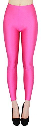 dy_mode Glanz Leggings Damen bunt viele Farben Tanz Leggings glänzende Leggins Shiny One Size - JL116 (One Size - geeigent für Gr. 36-38, JL116-Pink)
