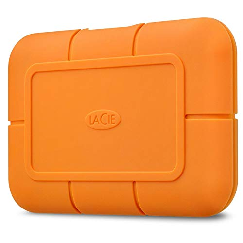 LaCie Rugged SSD 1TB Solid State Drive — USB-C USB 3.2 NVMe speeds up to 1050MB/s, IP67 Water Resistant, 3m Drop resistant, Encryption, 5-year Warranty with Data Recovery, 1 Mo Adobe CC (STHR1000800)