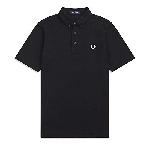 Fred Perry Herren Button DOWN Polo Shirt Poloshirt, Schwarz (Black 102), Small (Herstellergröße: S)
