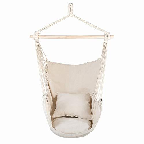AZHLUF Patio Watcher Hammock Chair Hanging Chair Swing Hanging Rope Swing Chair, with 2 Pillows, for Indoor, Outdoor, Home, Bedroom, Patio, Yard,Deck, Garden -Beige