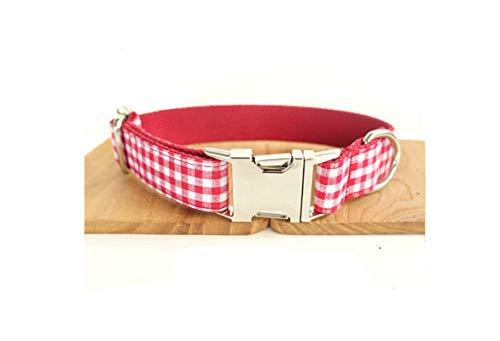 Amody Hundehalsband Classic Polyester Halsbänder Gitter Halsbänder für Katzen Welpen Kleine Mittelgroße Hunde Rot L