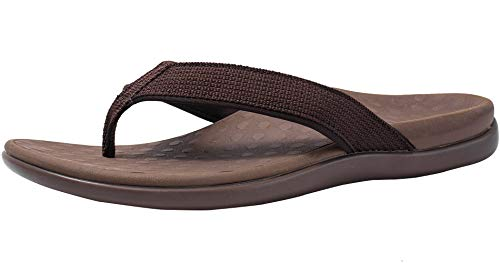 Plantar Fasciitis Feet Flip Flops Arch Supports Orthotics Sandals Relieve Flat Feet, High Arch, Foot Pain for Women (9, New Brown)