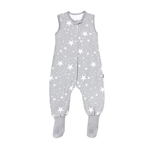 TupTam Baby Winter Schlafsack mit Beinen und Füßen, Farbe: Weiße Sterne/Grau, Größe: 80-86