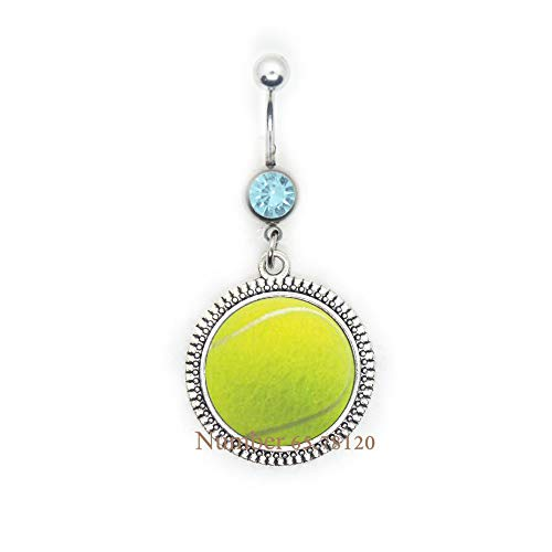 Tennis Ball Sports Player Fan Charm Belly Button Ring Belly Ring,Tennis Ball Jewelry Tennis Teachers Gift Tennis Fan Gifts Tennis Fans Gifts Tennis Player Gift,BV015