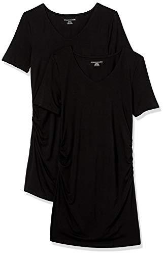 Amazon Essentials Camiseta Cuello en V y Manga Corta. Fashion-Maternity-t-Shirts, Negro/Negro, XXL