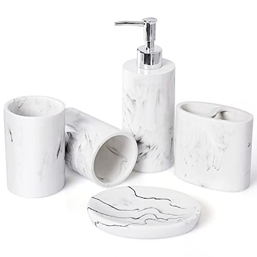 Bathroom Accessory Set, 5pcs Marble Look Bathroom Accessories Sets, Bathroom Toothbrush Holder & Soap Dispenser Set, Home Decor Clearance Countertop Vanity Organize,Housewarming Gift & Decorating Idea