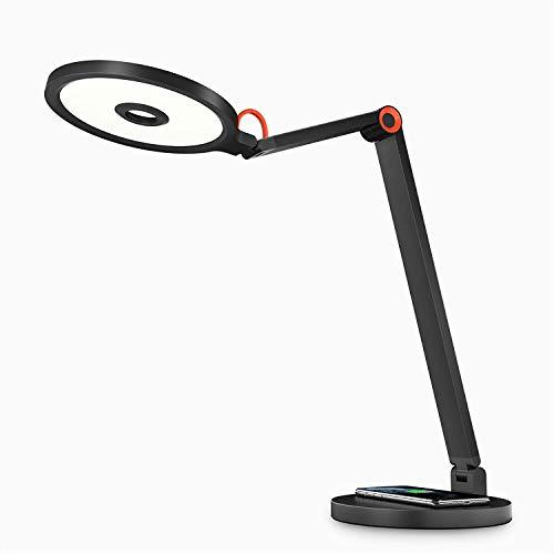 YUNLIGHTS LED Schreibtischlampe mit Kabelloser - Schreibtischlampe mit Touch-Steuerung automatischer Dimmung für die 60-Minuten-Timer Augenpflege 5 Helligkeitsstufen und 3 Farbmodus für Büro, 15W