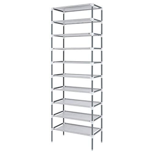 Nesaila - Zapatero de 10 niveles, fácil de montar y de pie para el hogar, dormitorio, oficina