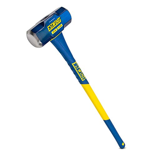 Estwing 16-Pound Hard Face Sledge Hammer for Demolition/Stake Driving, 50-55 HRC, 36-Inch Fiberglass Handle, Overstrike Protection, Textured Grip