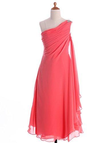 FAIRY COUPLE Big Girls' A-line Chiffon One Shoulder Flower Girl Dress for Wedding K0084 14 Coral