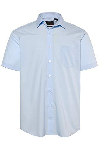 JP 1880 Herren große Größen bis 8XL, Halbarm-Hemd, Businesshemd, Popeline-Gewebe, bügelfrei, Kent-Kragen, Brusttasche blau 6XL 713990 71-6XL