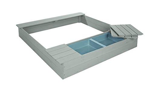 roba Sandkasten mit Spielwannen, Holzsandkasten aus wetterfestem Massivholz, grau lasiert, 2 Spielwannen aus Kunststoff und 4 abnehmbare Sitzplatten inklusive