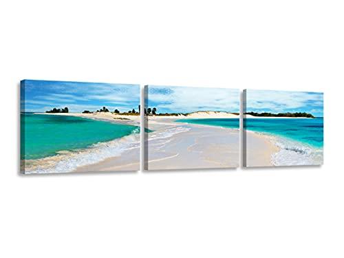 Foto Canvas Cuadros Paisajes Playa | Lienzos Decorativos - Cuadros para Dormitorios Modernos - Decoración Salón | Cuadro Playa 3 Piezas - 186 x 45 Cm sobre Bastidor de Madera Listos para Colgar