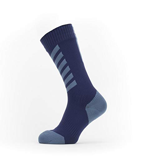 Seal Skinz Waterproof Cold Weather Mid Length Sock with Hydrostop Calzini unisex per adulti, blu navy/rosso, S