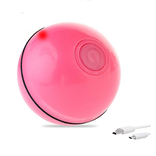 Litthing Pelota de Juguete Interactivo Inteligente Divertida para Gatos Bola Automática Rodante para Gatito Mascota Juguete Recargable USB con Luz LED Bola Giratoria 360 Grados (Rojo)